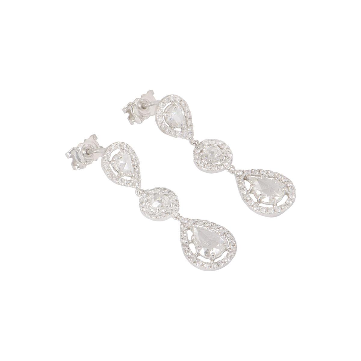 White Gold Rose Cut Diamond Drop Earrings